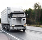 White blank tractor trailer truck on road. Of my business vehicles series Royalty Free Stock Photos