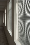 White blinds in dark corridor in perspective Stock Photos