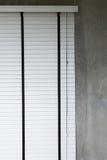 White blinds on window, design interior of bedroom Stock Image