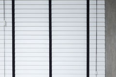 White blinds on window, design interior of bedroom Stock Photography