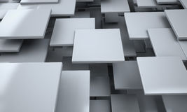 White Blocks Abstract Background. Realistic 3D Render Scene Royalty Free Stock Photos