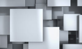 White Blocks Abstract Background. Realistic 3D Render Scene Royalty Free Stock Photo
