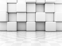 White Blocks And Checker Wall Abstract Background. Architecture Design 3d Render Illustration Royalty Free Stock Photo