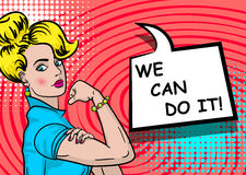 White blonde woman WE CAN DO IT. White blonde beautiful pop art woman. Advertise WE CAN DO IT girl power. Vector illustration halftone background. Cartoon comic Stock Photo