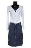 White blouse and jeans skirt Stock Photography