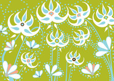 White blue abstract flowers stock illustration