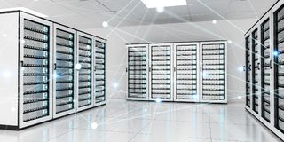 Abstract network on server room data center 3D rendering. White and blue abstract network on server room data center 3D rendering Royalty Free Stock Images