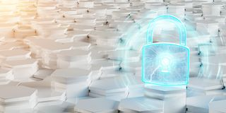 White and blue padlock icon on hexagons background 3D rendering. White and blue abstract padlock icon on hexagons background 3D rendering Stock Image