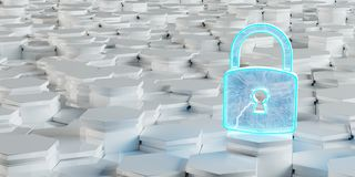 White and blue padlock icon on hexagons background 3D rendering. White and blue abstract padlock icon on hexagons background 3D rendering vector illustration