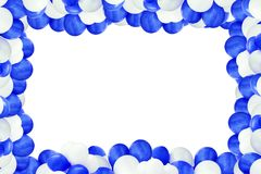 White and blue air balloon. In front of a white background royalty free stock images