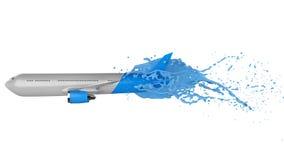 White and blue airplane splashing Royalty Free Stock Image