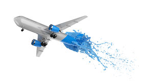 White and blue airplane splashing Stock Photography