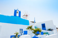 White and blue architecture on Santorini, Greece. Stock Photos