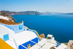 White-blue architecture on Santorini island, Greece. Beautiful landscape with sea view Royalty Free Stock Images