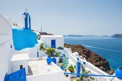 White-blue architecture on Santorini island, Greece. Stock Photo