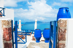 White-blue architecture on Santorini island, Greece. Beautiful landscape with sea view Royalty Free Stock Photos