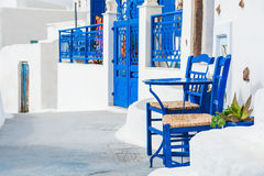 White-blue architecture on Santorini island, Greece. Royalty Free Stock Photo