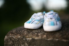 White-blue baby shoes Stock Photo