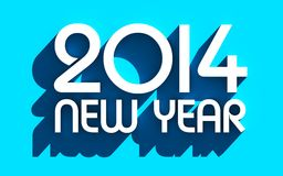 White 2014 on blue background Royalty Free Stock Images