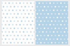 Abstract Star Vector Patterns. White, Light Gray and Blue Stars. royalty free illustration