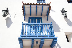 White blue balcony with lamps. Balcony in Cartagena.Cartagena - the colonial city in Colombia is a beautifllly set city, packed with historical monuments and stock photography