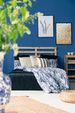 White and blue bedclothes Stock Photography