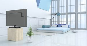 White-blue bedroom 3d rendering. White-blue bedroom decorated with light blue bed,tree in glass vase, pillows, bedside table, Window, blue lamp,bolster,TV, green Stock Image