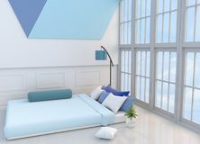 White-blue bedroom 3d rendering. White-blue bedroom decorated with light blue bed,tree in glass vase, pillows, bedside table, Window, blue lamp,bolster,TV, green Stock Images