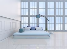 White-blue bedroom 3d rendering. White-blue bedroom decorated with light blue bed,tree in glass vase, pillows, bedside table, Window, blue lamp,bolster,TV, green Stock Photography