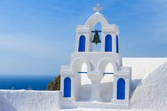 White with blue belfry, Santorini island, Greece Stock Image