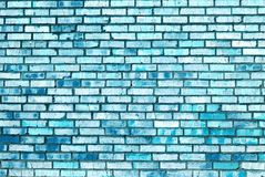 White blue brick wall for background or texture. Old brick wall background. Vintage house facade royalty free stock photo