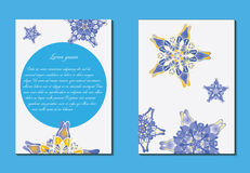 White and blue brochure. Nice hand-drawn illustration Stock Photography