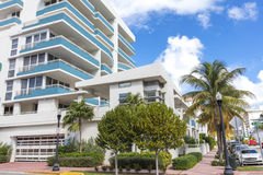 White and blue building in Ocean Drive. Miami Beach Royalty Free Stock Photography