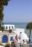 White and Blue Café Terrace over Mediterranean Sea - Sidi Bou Said Royalty Free Stock Images