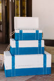 White-blue chests for the Sea birthday party Stock Images