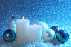 White and blue christmas decoration. On snow background Royalty Free Stock Image