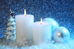 White and blue christmas decoration. On snow background Stock Photo
