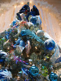 White blue Christmas tree. Bottom-up view on Christmas tree with white and blue decorations Stock Photography