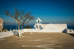 White and blue church in Oia, Santorini, Greece Stock Photography