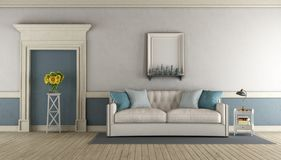White and blue classic living room royalty free illustration