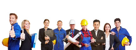 White and blue collar worker as a team. Holding thumbs up royalty free stock photos