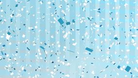 White and blue confetti falling. Digitally generated animation of white and blue confetti falling in the screen with background of horizontal and vertical vector illustration