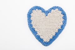 White and Blue Crochet Knitted Heart Stock Photography