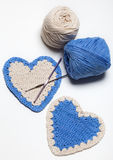 White and Blue Crochet Knitted Hearts Royalty Free Stock Photo