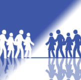 White and Blue Crowd. It's a white and blue crowd that is running in opposite directions Stock Photo