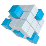 White and blue cubes. 3D illustration. White and blue cubes isolated on white background. Template for your design. Teamwork symbol Stock Photos