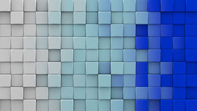 White and blue cubes 3D render. White and blue extruded cubes. Geometric 3D render. Computer generated abstract background Stock Photos