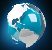 White and blue 3D rendering earth Royalty Free Stock Photography