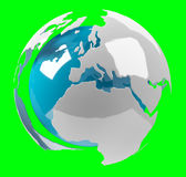 White and blue 3D rendering earth. On green background Royalty Free Stock Images