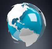 White and blue 3D rendering earth Stock Images